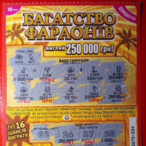 """Моментальная лотерея """"Богатство фараонов"""""""