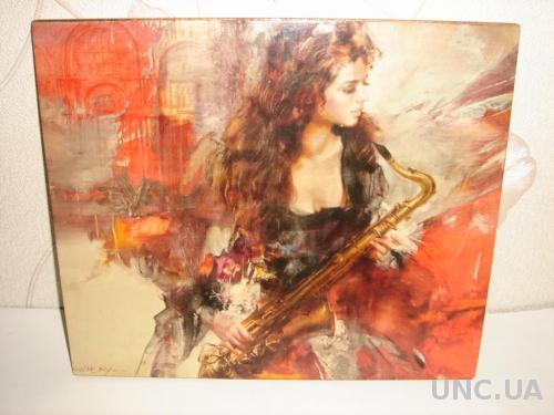 Продам картина Девушка с саксофоном. Made in Italy.
