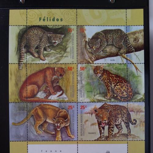 Аргентина - Кошки дикие - 2001. Чистый М/Лист из 6 марок .MNH.
