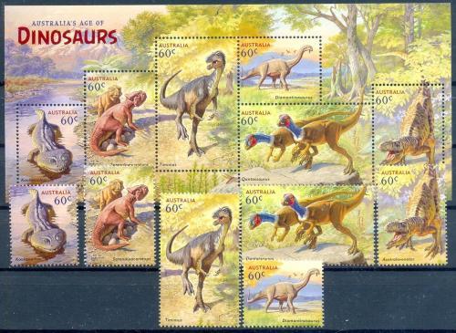 Австралия-Динозавры- 2013 г .  М/Лист + серия 6 марок. MNH.