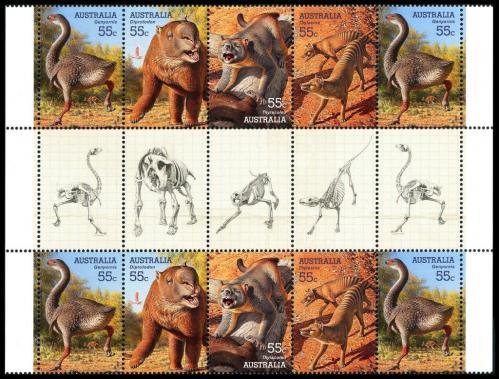 Австралия-Динозавры-Доисторические животные-Мега-Фауна-2008.Два (2)- М/Листа+ Геттер-пара+ серия MNH