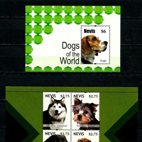 Невис-Собаки-2011. Блок + М/Лист из 4 марок.MNH.