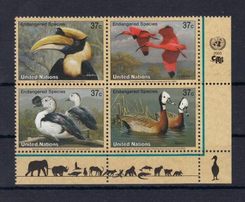 ООН - Птицы - 2003. Чистые три (3) кварт - блока из 4 марок. MNH.