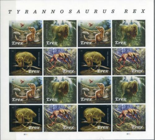США - Динозавр - Тиранозавр - 2019. Чистый М/Лист из 16 чистых марок . Спец - эффект - 3 D, MNH.