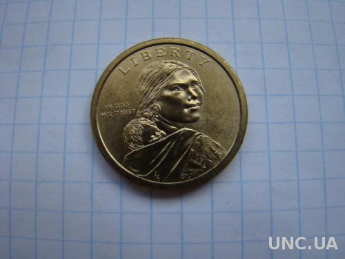 1 доллар 2009 г.  Сакагавея, Индианка. США.