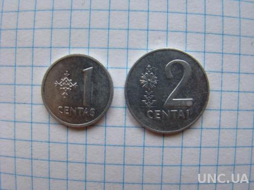 1 и 2 цента 1991 г., Литва.
