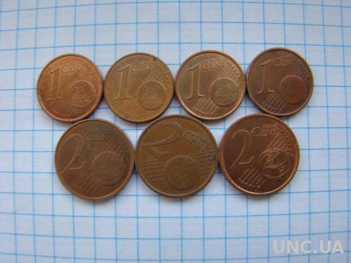 1 и 2 евроцента, разные (см. описание).