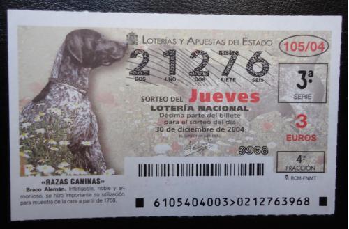 Лотерейный  билет -НАЦИОНАЛЬНА  лотерея ИСПАНИИ 30 декабря 2004