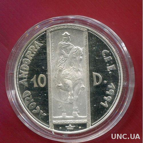 Андорра 10 динейро 1995 ПРУФ серебро/925/31,5 гр Рыцарь