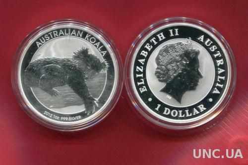 Австралия 1 доллар 2012 ПРУФ серебро/999/31,1 гр Коала