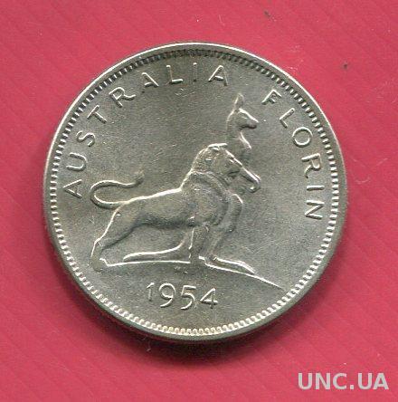 Австралия 1954 Флорин XF++ серебро Кенгуру юбилейный