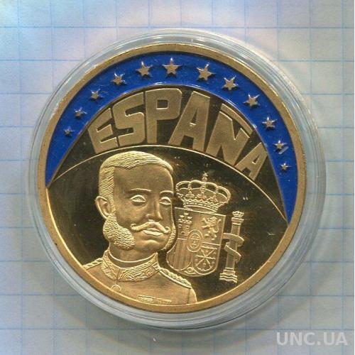 Испания 1 экю 1997 ПРУФ позолота Монархия