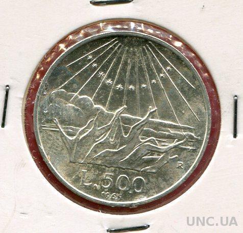 Италия 500 лир 1965 UNC серебро Данте