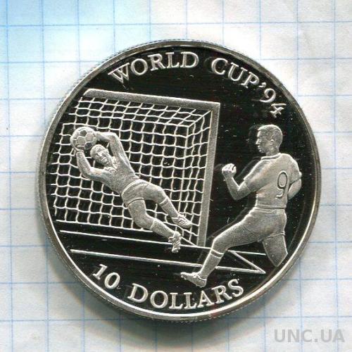 Кука о-ва 10 долларов 1992 ПРУФ серебро Футбол