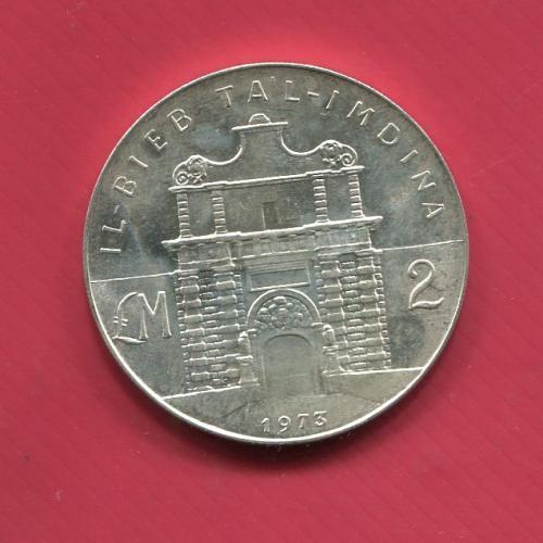 Мальта 2 фунта 1973 UNC серебро Юбилейные