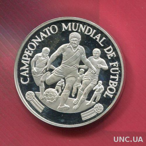 Перу 5000 соль 1982 ПРУФ серебро Футбол не частая!
