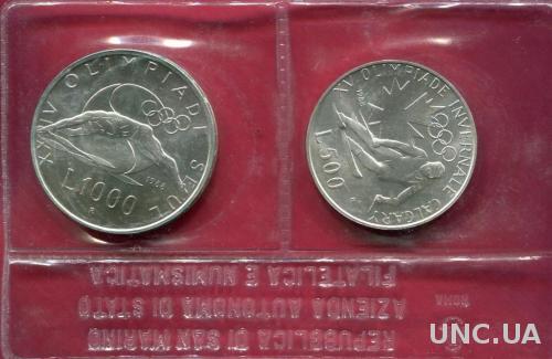 Сан Марино 1000 и 500 лир 1988 UNC серебро Олимпиада Сеул