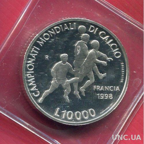 Сан Марино 10000 лир 1998 ПРУФ серебро Футбол