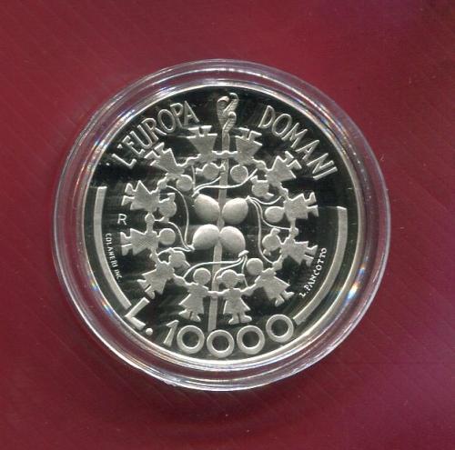 Сан Марино 10000 лир 1999 ПРУФ серебро DOMANI