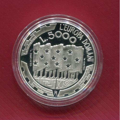 Сан Марино 5000 лир 1999 ПРУФ серебро DOMANI