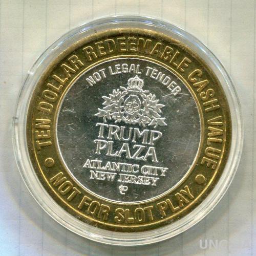 США Казино Атлантик Сити 10 долларов ПРУФ серебро/999/38,4 гр.