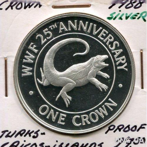 Туркс и Кайкос 1 крона 1988 ПРУФ серебро Игуана