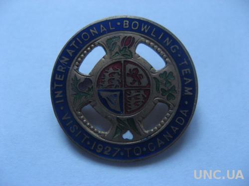 Великобритания Георг V Нагрудный знак 1927 Международная команда по боулингу - Визит в Канаду