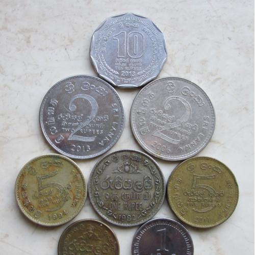 10,5,2,1 рупий.   Шри-Ланка.