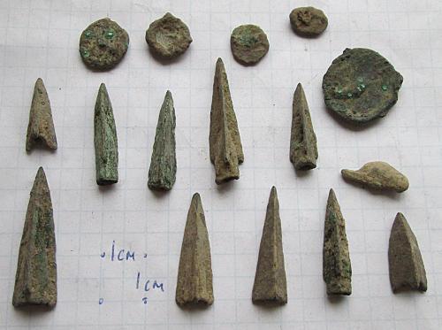 Скифские наконечники,монеты Ольвии.. 4-3 век до нашей эры.