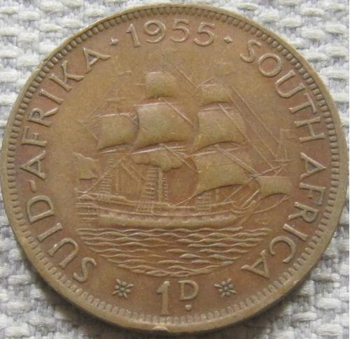 Британская Южная Африка 1 пенни 1955 года. Корабль #12438