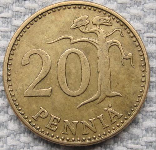 Финляндия 20 пенни 1971 года #13715