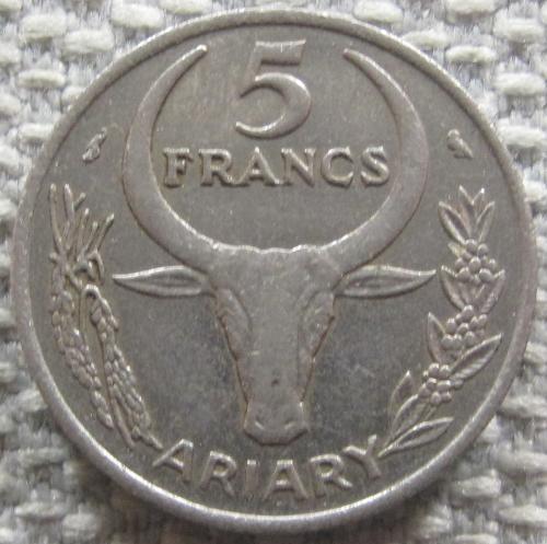 Мадагаскар 5 франков 1967 года #12354