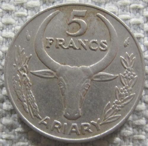 Мадагаскар 5 франков 1977 года #12356