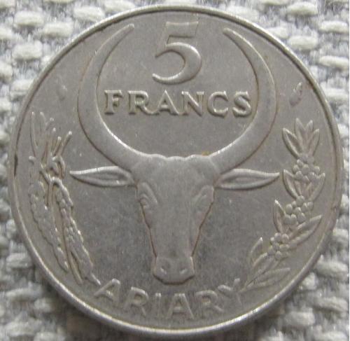 Мадагаскар 5 франков 1988 года #12359