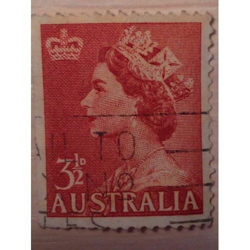 Марка. Австралия. Королева Елизавета II 1953 год.