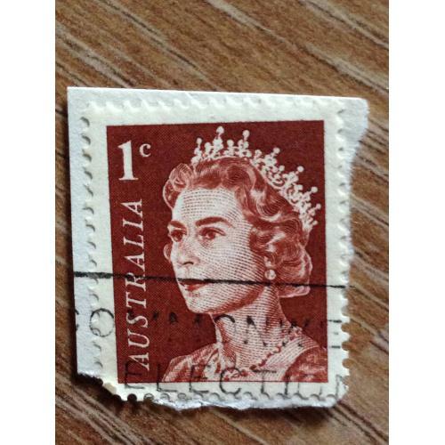 Марка. Австралия. На бумаге. 1 c. Queen Elisabeth.
