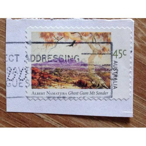 Марка. Австралия. На бумаге. Albert Namatjira Chost Gum Mt Sonder.