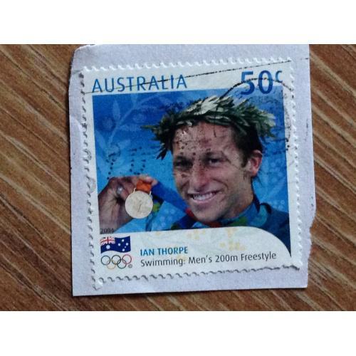 Марка. Австралия. На бумаге. Ian Thorpe. Swimming: men's 200 m freestyle.