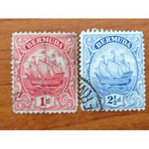 Серия марок. Бермуды. 2 1/2 d и 1 d.