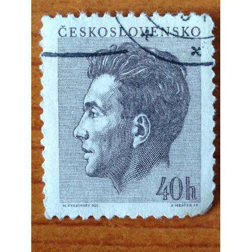 Марка. Чехословакия. Портрет Ю. Фучика. 1953 г.