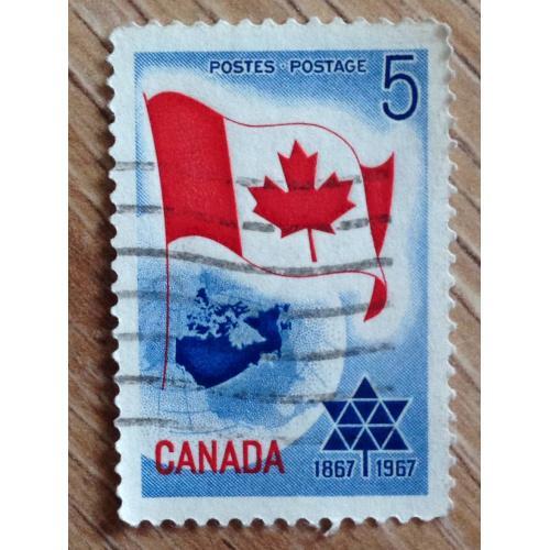 Марка. Канада. Флаг.