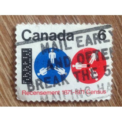 Марка. Канада. Recensement 1871-1971. '