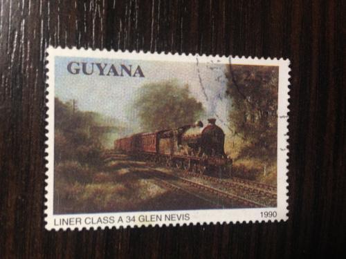 Марка. Паровоз. Гайана.  1990.