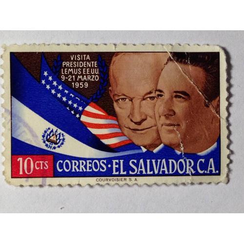 Марка. Сальвадор. 10 cts. ᴖ