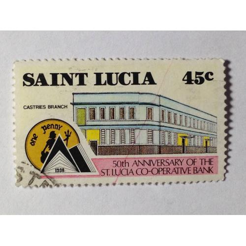Марка. Сент-Люсия. 45 центов. ᴖ