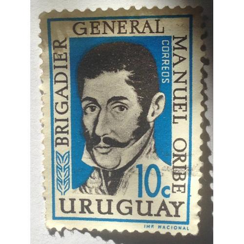 Марка. Уругвай. 10 центов. ᴖ
