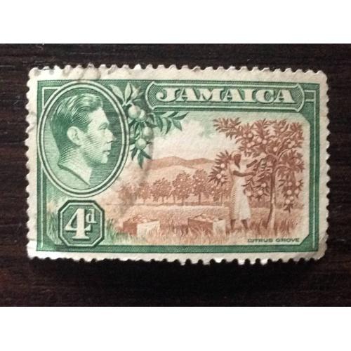 Марка. Ямайка. Король Георг VI. 4 d.