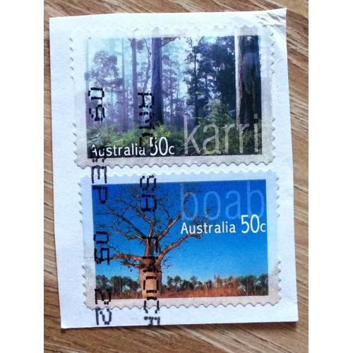 Марки. Австралия. На бумаге. Деревья.