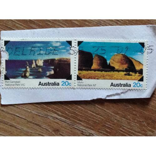 Марки. Австралия. На бумаге. Пейзажи.
