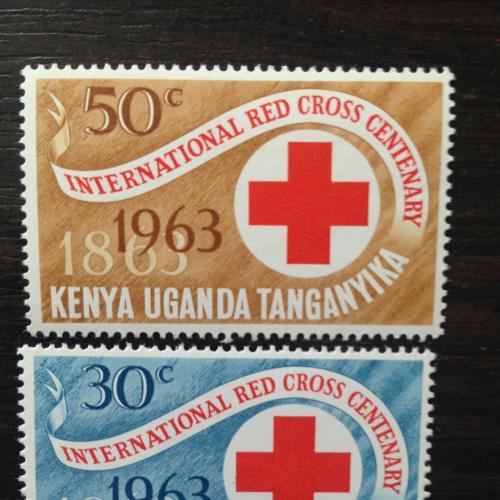 Марки. Кения Уганда Танганьика. Красный крест. 1963.
